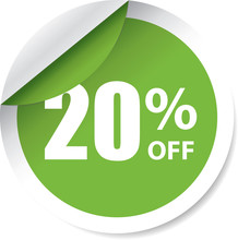 Sale 20% Off Green Label, Sign, Stickers And Symbol.