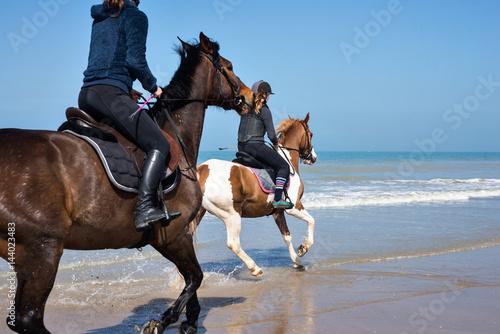 Photo  cavalière au galop sur la plage