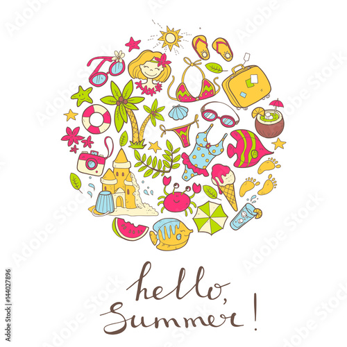Fototapety, obrazy: Vector cute doodle round illustration Hello summer. The sea, the