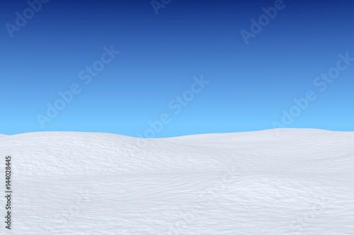 Obraz na plátně  Snowy field under blue sky