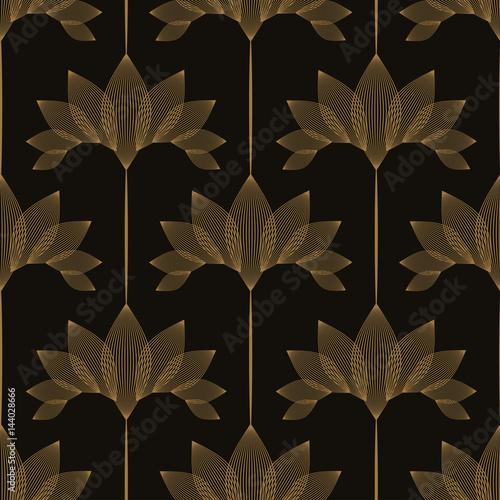 vintage-kwiatowy-tapety-z-lotosu-w-kolorze-czarnym-i-zlotym
