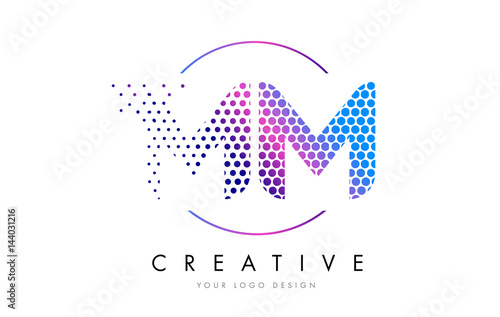 Poster  MM M M Pink Magenta Dotted Bubble Letter Logo Design Vector