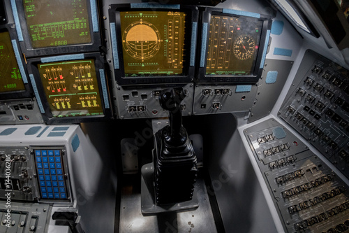 Deurstickers Nasa spaceship control panel mission to moon and mars
