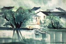 Chinese Traditional Painting Of Water House
