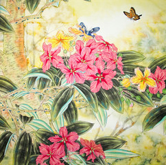Obraz na PlexiChinese traditional painting of flowers