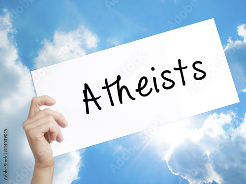 Atheists Sign on white paper Canvas Print
