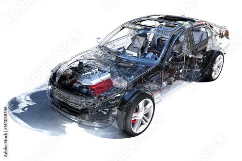 Przezroczyste modele samochodów.