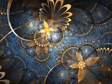 Gold And Blue Fractal Floral Pattern, Digital Artwork For Creative Graphic Design