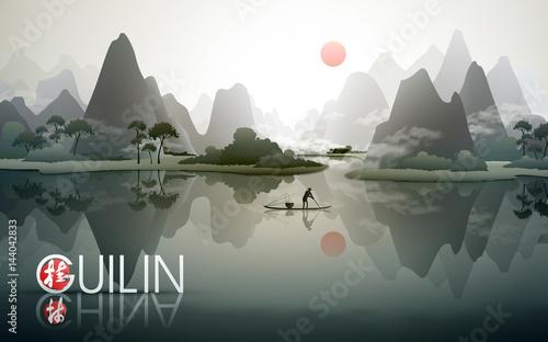 Tablou Canvas China Guilin travel poster