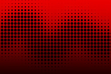 Halftone Dots. Red Dots On Black Background. With Copy Space