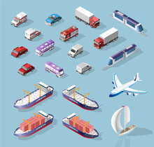 Collection Of Realistic Isometric High Quality City Element For Map. Vehicles