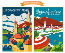 Travel Poster Vectors Illustrations With Vintage European Holiday Destinations - Set1