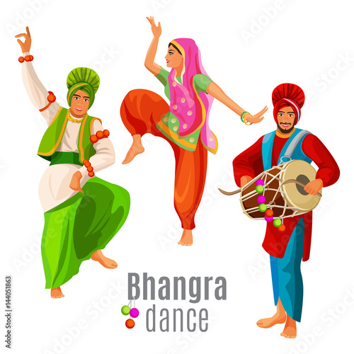 Fotografie, Obraz  Bhangra dance concept men and woman in national cloth dancing