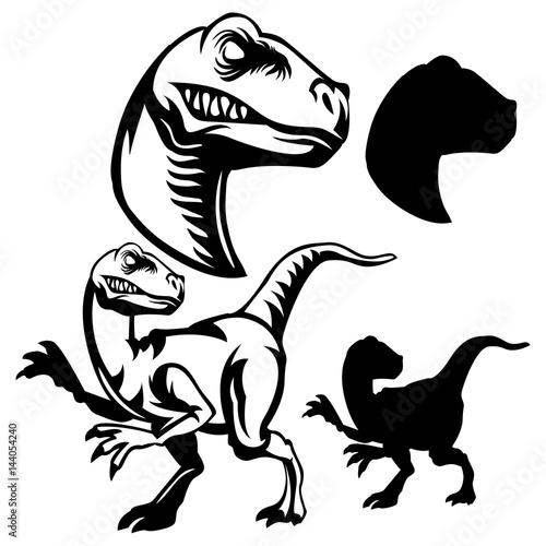 Fotografía velociraptor clipart black and white set and sillhouette