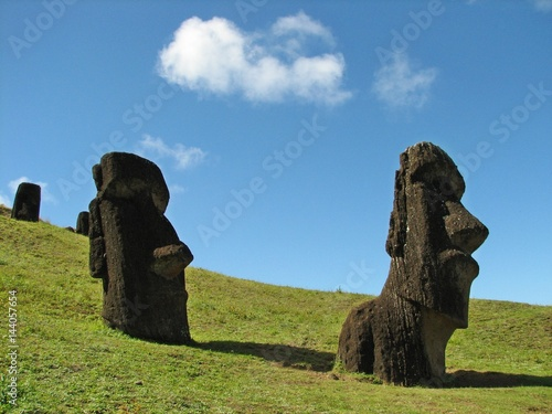 Fotografia  EASTER ISLAND - AUGUST 2007: moai standup on August 2007 in Easter Island