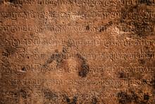 Sanskrit On A Temple In Angkor...
