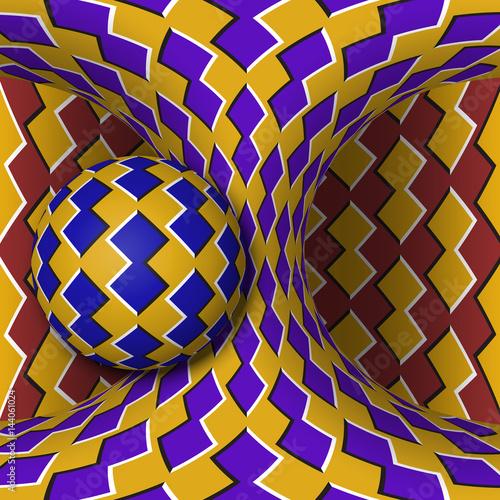 Zdjęcie XXL Ilustracja iluzja ruchu optycznego. Kula wiruje wokół poruszającej się hiperboloidy. Streszczenie fantasy w surrealistycznym stylu.