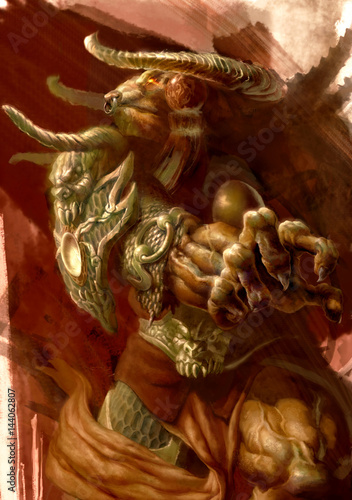 Photo  digital illustration of fantasy character Tauren dress in ancient chinese style