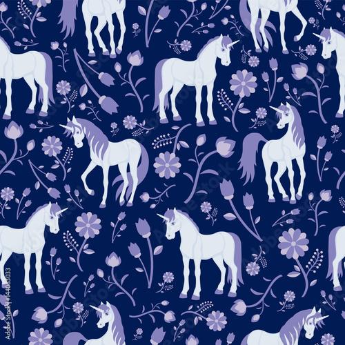 Cotton fabric Seamless texture, flowers and fabulous unicorns
