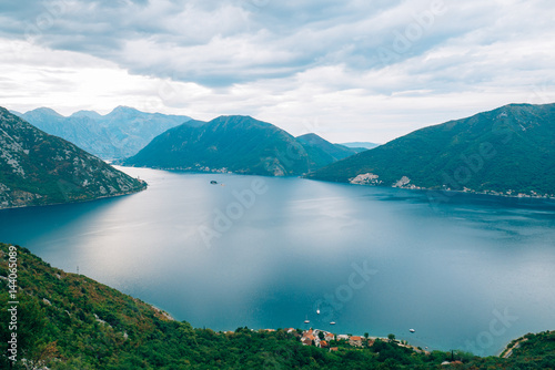 Foto op Plexiglas Landschappen The island of Gospa od Skrpela, Kotor Bay, Montenegro. View from the high mountain above Risan.