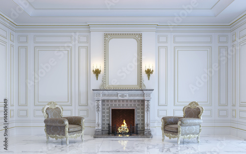 Photo  A classic interior is in light tones with fireplace