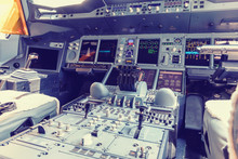 Dashboard And Center Console Of The Largest Passenger Aircraft Airbus A380-800. Cockpit Of Airbus A380, Largest Passenger Airliner In The World.
