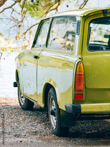 Fotografia  Lazy Yugoslavian retro car in Perast, Montenegro.