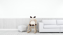 Reindeer On Rocking Chair In White Kidroom Or Living Room - 3d Rendering