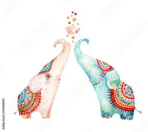 dwa-slonie-akwarela-zakochane-sloniki-na-bialym-tle