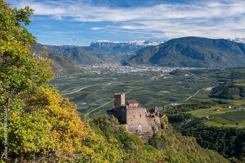 Appiano, South Tyrol, Italy. The Castle Hocheppan with the city of Bolzano/Bozen in the background