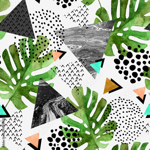 Recess Fitting Graphic Prints watercolor tropical leaves and textured triangles background