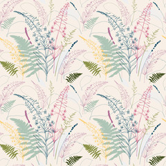 Panel Szklany PodświetlaneVector floral seamless pattern with fireweed flowers, fern leaves, lavender and grass.