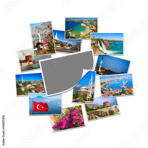 Stampe  Blank photo with copy space and collection of travel pictures from Turkey
