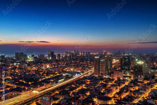 Keuken foto achterwand Bruggen Metro Manila Skyline at Nightfall