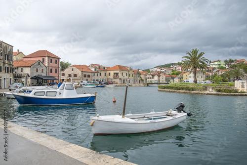 Deurstickers Australië Small town on Hvar island - Vrboska, Croatia
