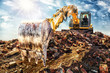 canvas print picture - Demolishing an old industrial building