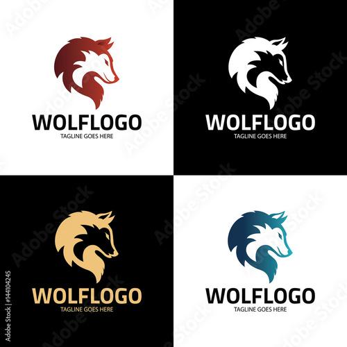 wolf logo design template wolf head logo vector illustration buy