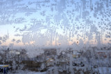 Hoar frost on the glass