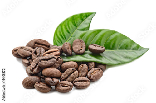 Salle de cafe coffee grains and leaves