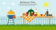 Fruit, Wine, Barbecue Grill, Watermelon On The Grass, Bbq Flat Vector Illustration. Summer Picnic On Meadow Under Sky.
