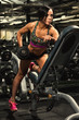Attractive female fitness model working out with dumbbells at the gym
