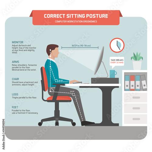 Cuadros en Lienzo Correct sitting posture at desk