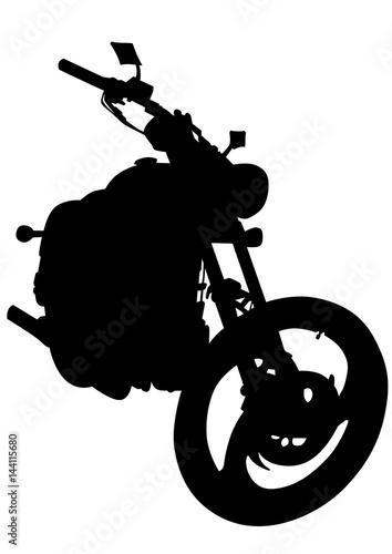 Foto op Canvas Motorfiets Old big bike on white background