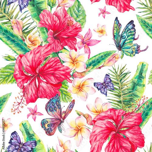 akwarela-rocznika-kwiatowy-tropikalny-wzor