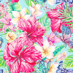 Fototapeta Egzotyczne Watercolor tropical flowers seamless pattern