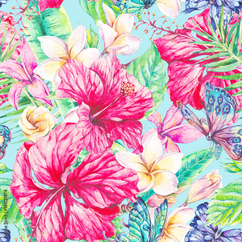 Watercolor tropical flowers seamless pattern - 144121474