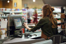 Cashier Woman On Workspace In ...