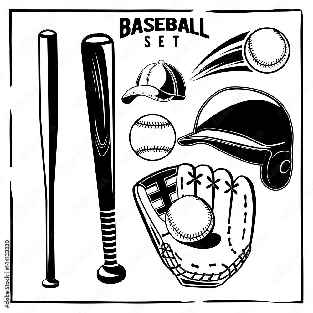 Vector Baseball Black And White Set Helmet Glove Ball Bat