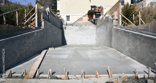 Fotografie, Obraz  Front view of newly poured cement driveway.