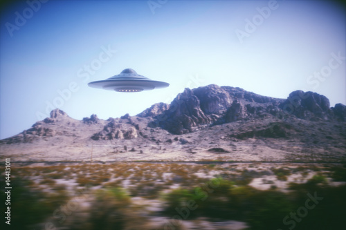 Garden Poster UFO 3D illustration with photography. Alien spaceship flying with panning effect.